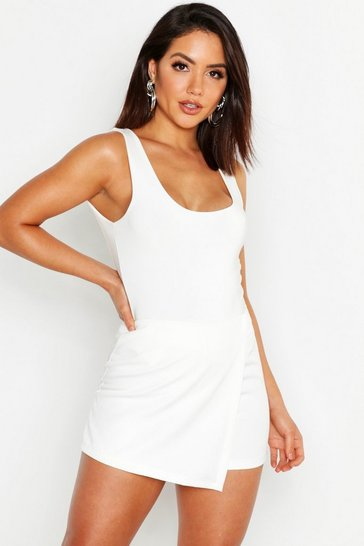 Womens White Woven Wrap Front Short