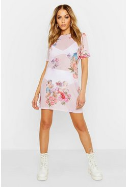 Womens Pink Cupid Print Mesh T Shirt Dress