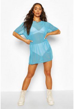 Blue Neon Oversized Mesh T Shirt Dress