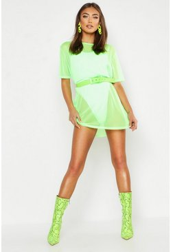 Womens Lime Neon Oversized Mesh T Shirt Dress