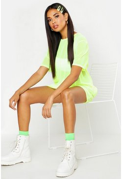 Neon-yellow Neon Oversized Mesh T Shirt Dress