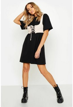 Womens Black Corset Detail Oversized Cotton T Shirt Dress