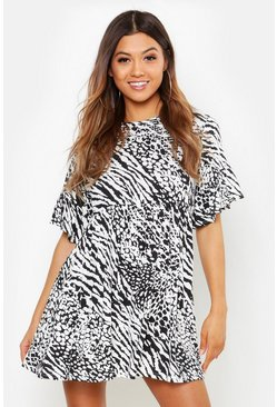 Black Animal Print Smock Dress