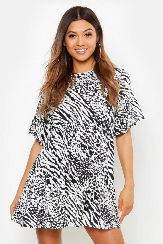 Womens Black Animal Print Smock Dress