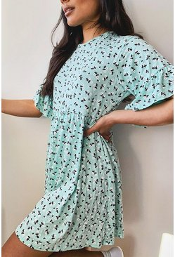 Mint Ditsy Floral Smock Dress