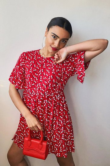 Womens Red Ditsy Floral Smock Dress