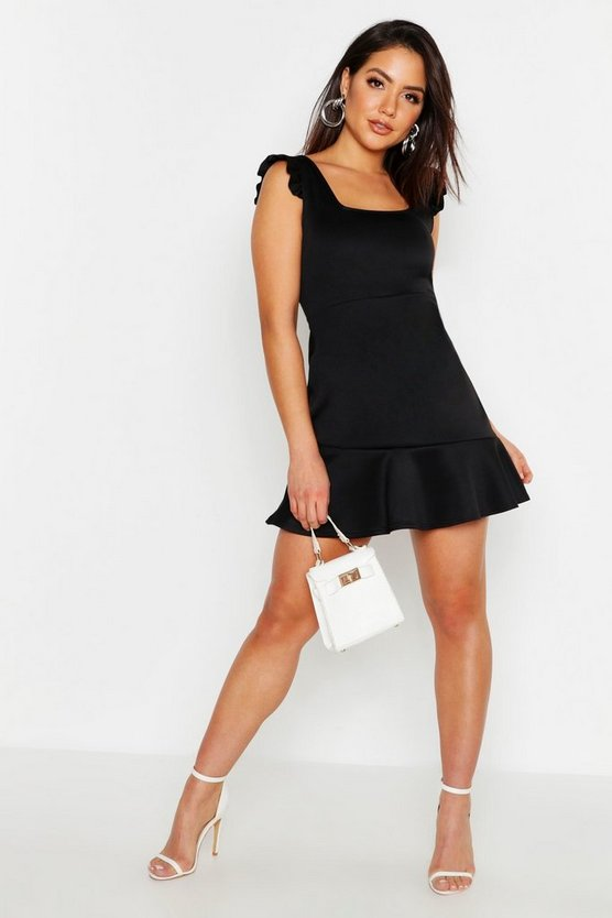 Womens Black Square Neck Frill Hem Skater Dress