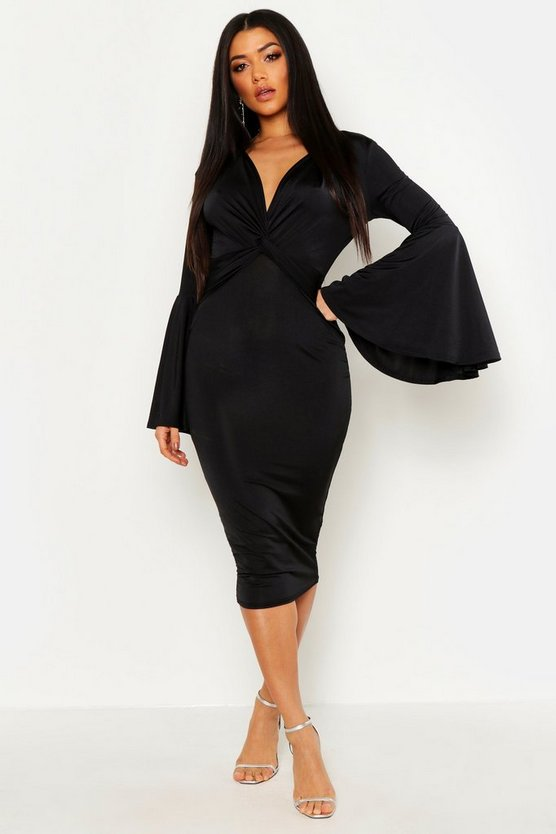 Womens Black Plunge Front Twist Flared Sleeve Midi Dress