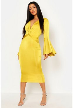 Womens Chartreuse Plunge Front Twist Flared Sleeve Midi Dress