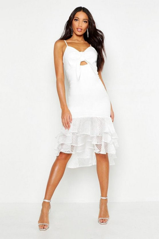 White Bow Detail Frill Hem Strappy Midi Dress
