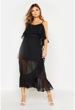 Womens Black Strappy Dobby Chiffon Ruffle Midi Dress