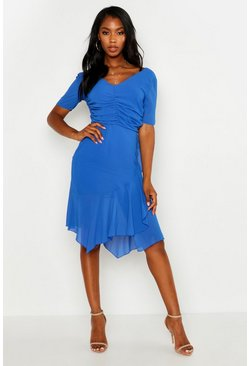Womens Cobalt Ruched Detail Frill Hem Midi Dress