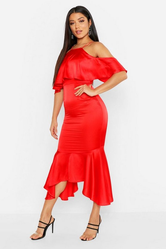 Womens Red Strappy Ruffle Satin Midi Dress