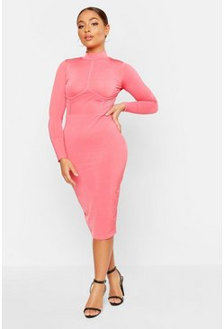 Neon-coral High Neck Bustier Detail Midi Dress