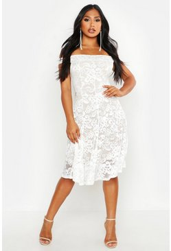 Womens Cream Off The Shoulder Lace Skater Midi Dress