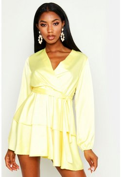 Womens Yellow Balloon Sleeve Belted Skater Dress
