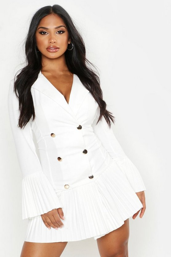 Womens White Pleated Frill Hem Blazer Dress