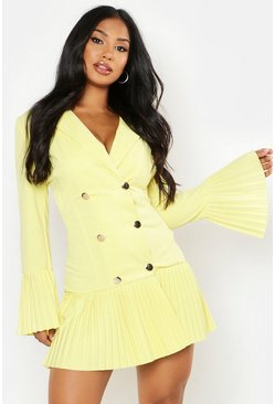 Womens Yellow Pleated Frill Hem Blazer Dress