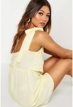 Lemon One Shoulder Tie Detail Skater Linen Dress