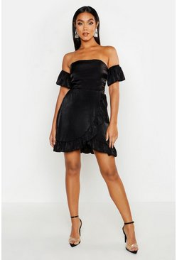 Womens Black Off The Shoulder Strap Back Ruffle Skater Dress