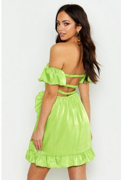 Lime Off The Shoulder Strap Back Ruffle Skater Dress