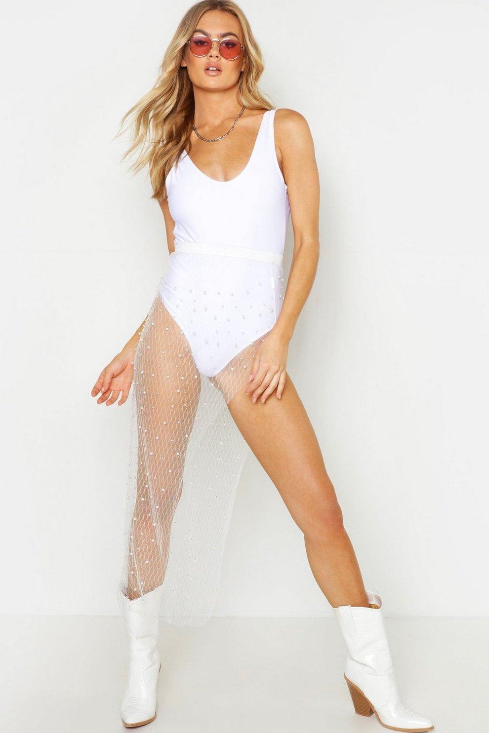 698f3f9805c0 Womens White Pearl Embellished Maxi Length Belt