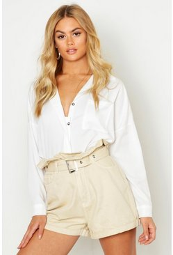 Womens Ivory Concealed Placket Shirt