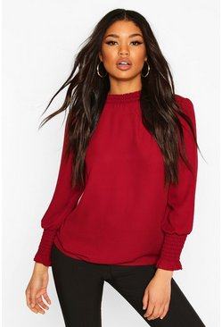 Berry Sheered High Neck & Cuff Blouse