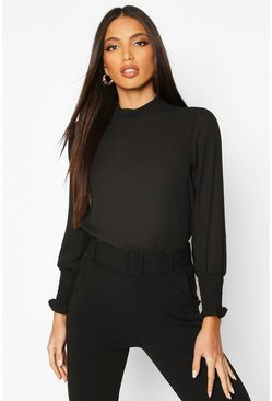 Black Sheered High Neck & Cuff Blouse