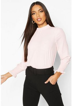 Blush Sheered High Neck & Cuff Blouse