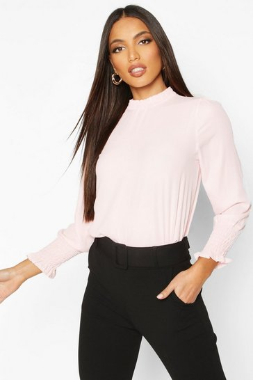 Womens Blush Sheered High Neck & Cuff Blouse