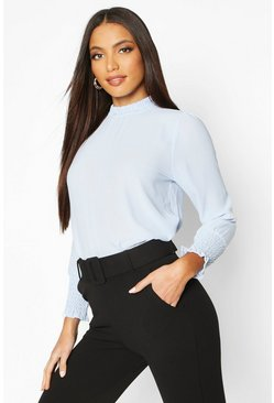 Womens Sky Sheered High Neck & Cuff Blouse