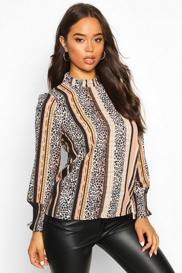 Womens Black Mixed Animal Stripe High Neck Blouse