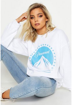 Womens White Paramount Oversized Licence Sweat