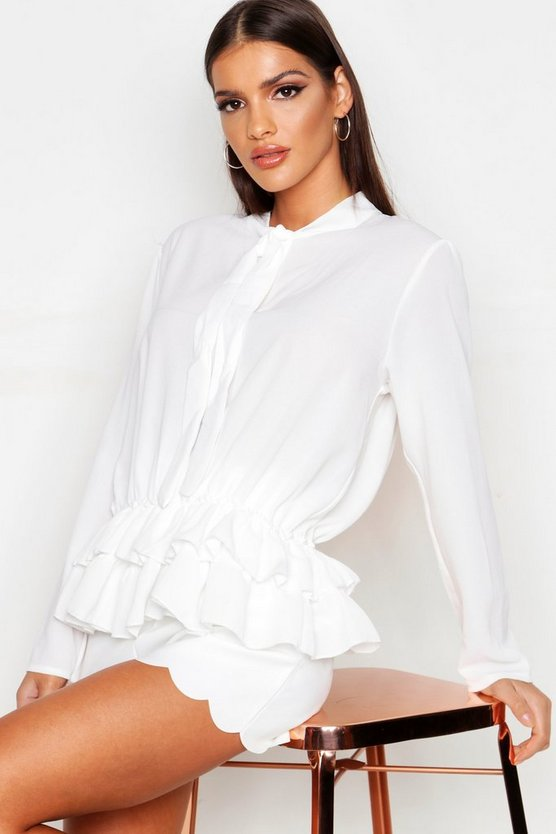 Womens White Pussy Bow Smock Shirt