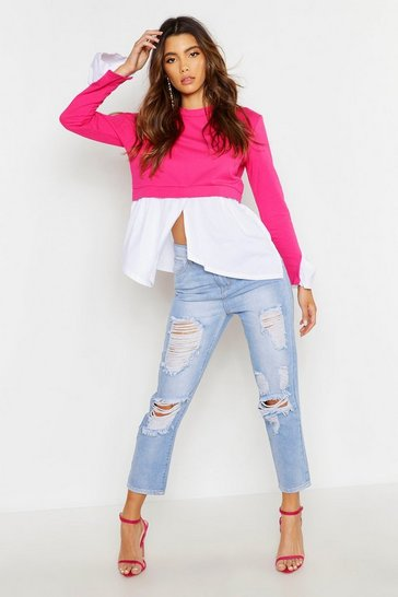 Womens Pink Double Layer Sweat Smock Top