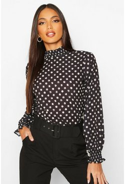 Womens Black Polka Dot High Neck Blouse