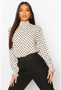Womens Ivory Polka Dot High Neck Blouse