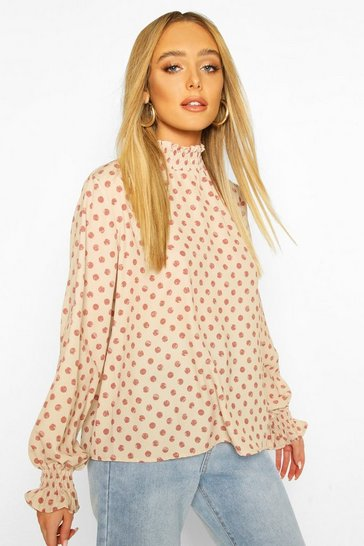 Nude Polka Dot High Neck Blouse