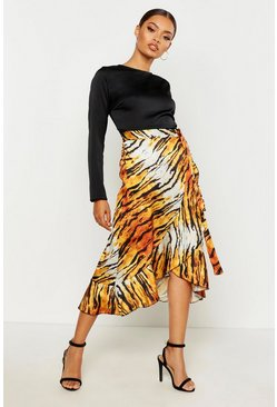 Womens Brown Animal Print Ruffle Wrapped Skirt