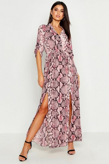 Womens Pink Snake Print Detail Midi Shirt Dress