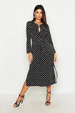 Spot Print Midi Belted Shirt Dress