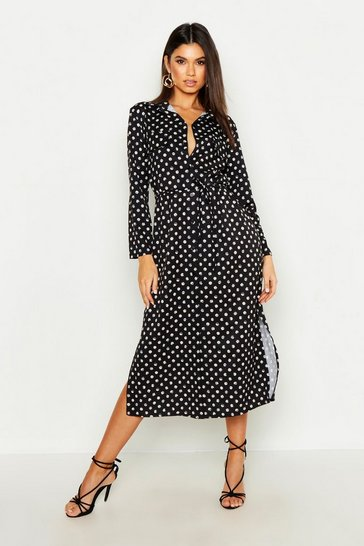 Womens Black Spot Print Midi Belted Shirt Dress