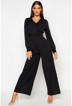 Womens Black Button Detail Belted Wide Leg Jumpsuit