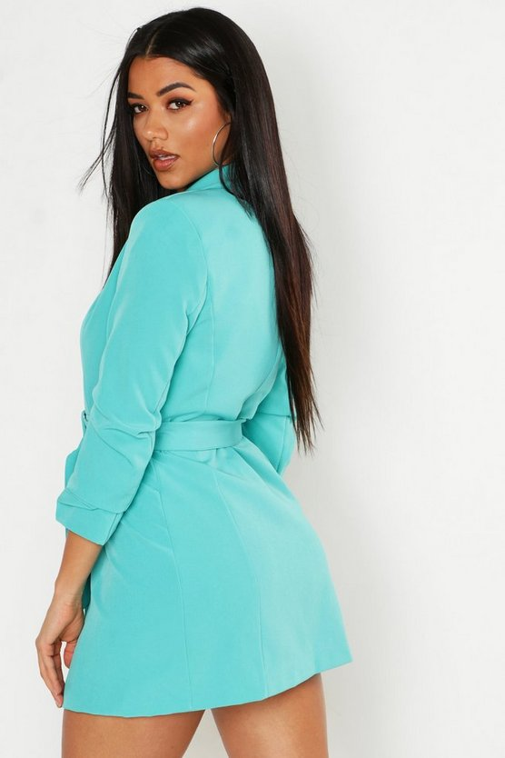 Ruched Sleeve Breasted Belted Blazer Dress