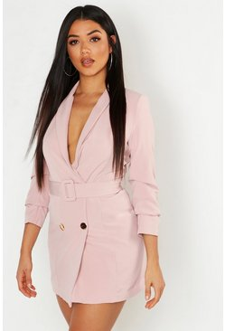 Womens Nude Ruched Sleeve Breasted Belted Blazer Dress