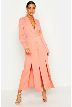 Womens Peach Maxi Length Belted Blazer Dress