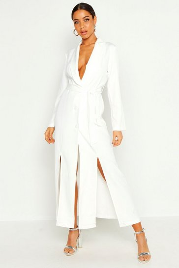 Womens White Maxi Length Belted Blazer Dress