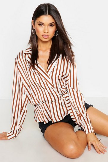 Womens Brown Wrap Front Collared Strip Satin Blouse