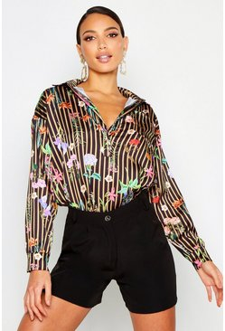 Womens Black Stripe Floral Shirt